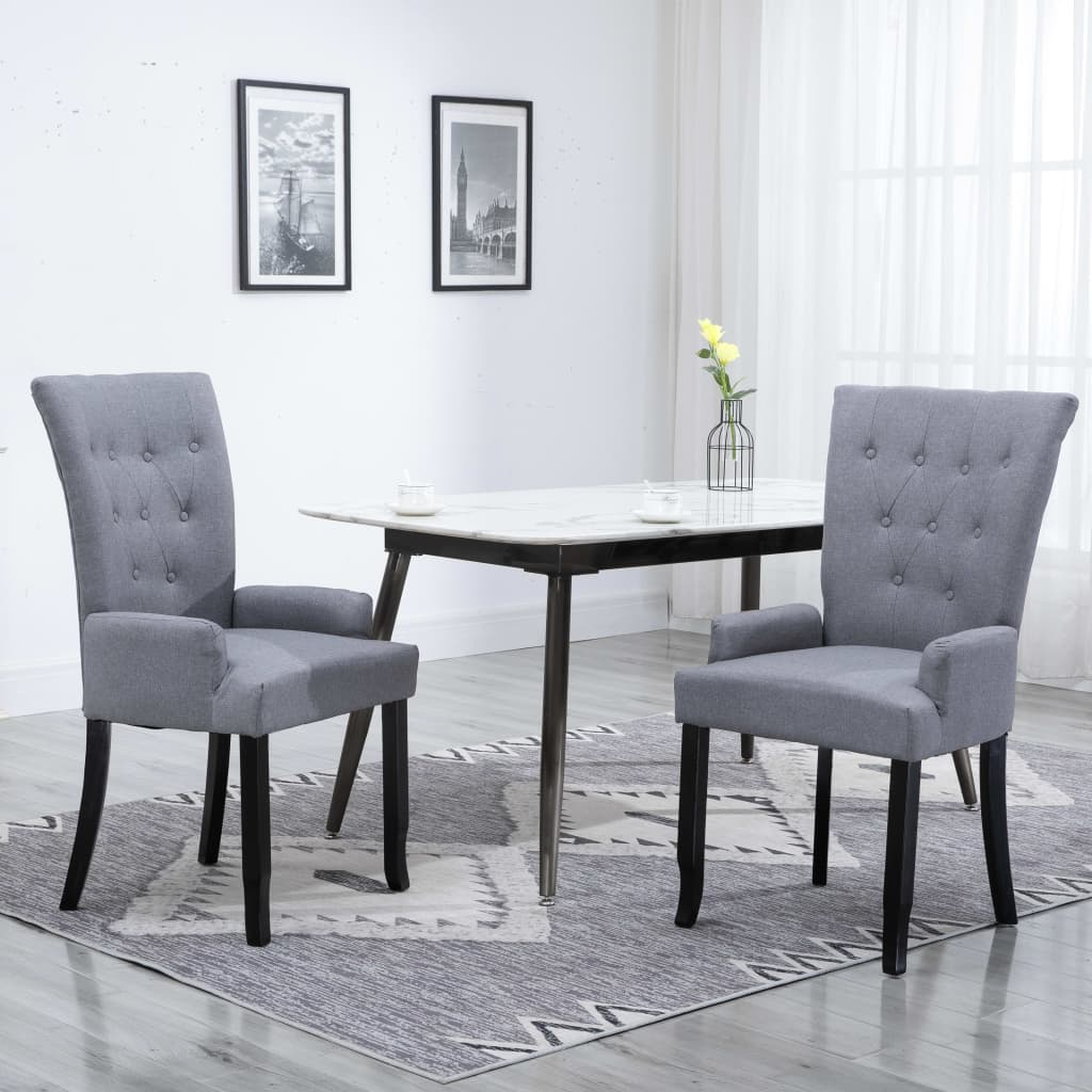 Dining Chair with Armrests Light Grey Fabric 1