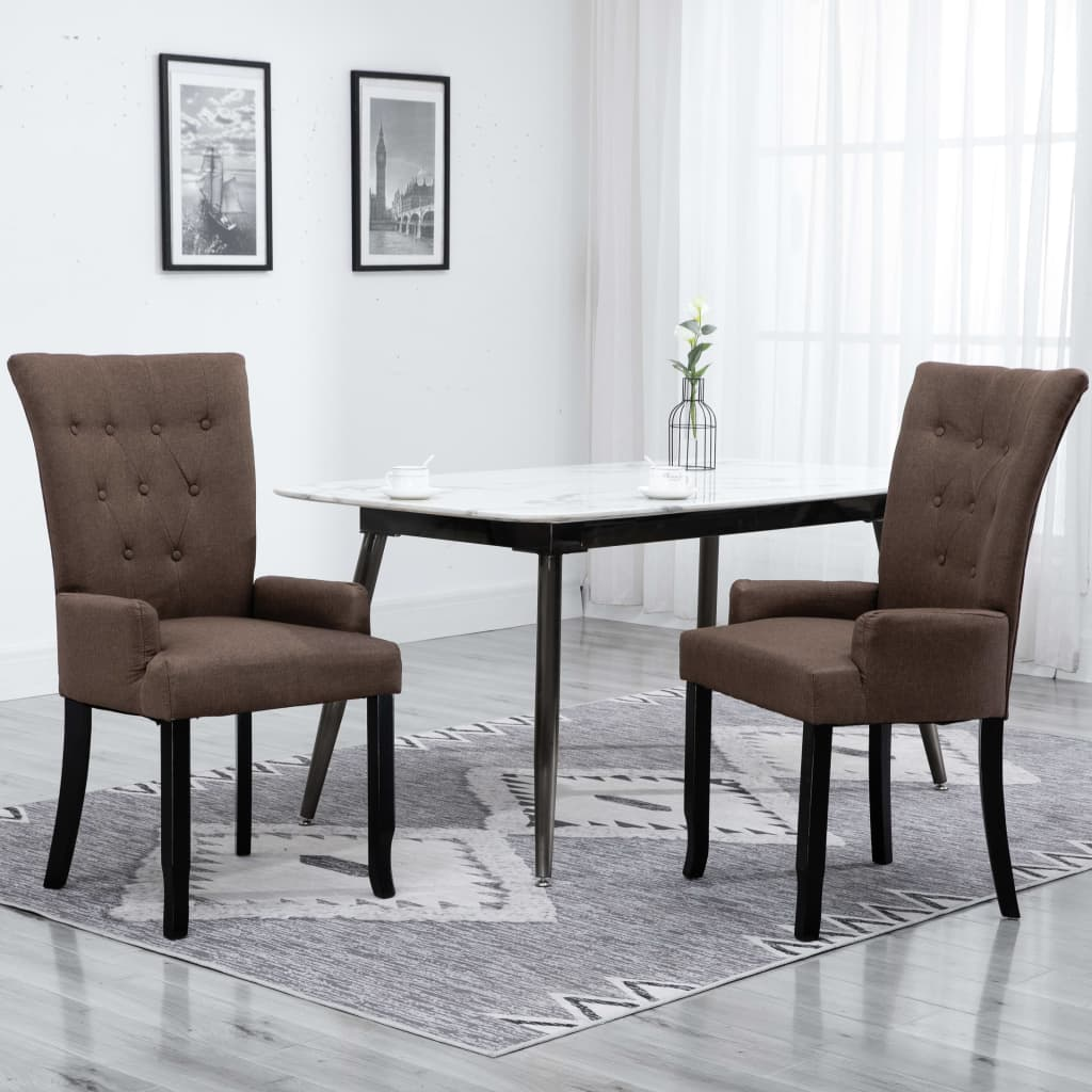 Dining Chair with Armrests Brown Fabric 1