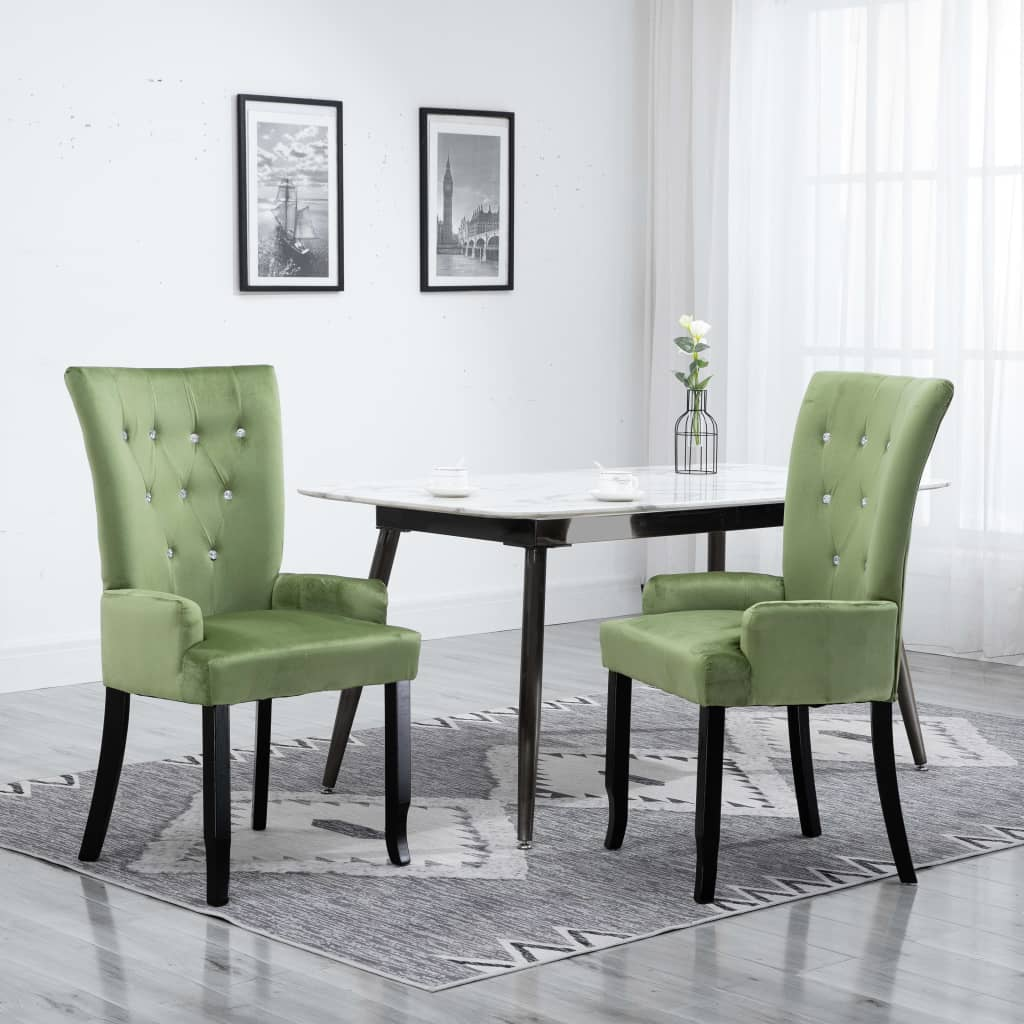 Dining Chair with Armrests Light Green Velvet 1