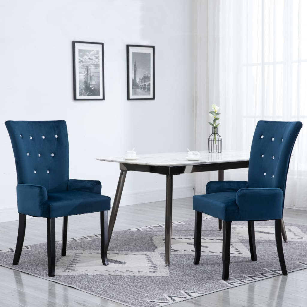 Dining Chair with Armrests Dark Blue Velvet 1