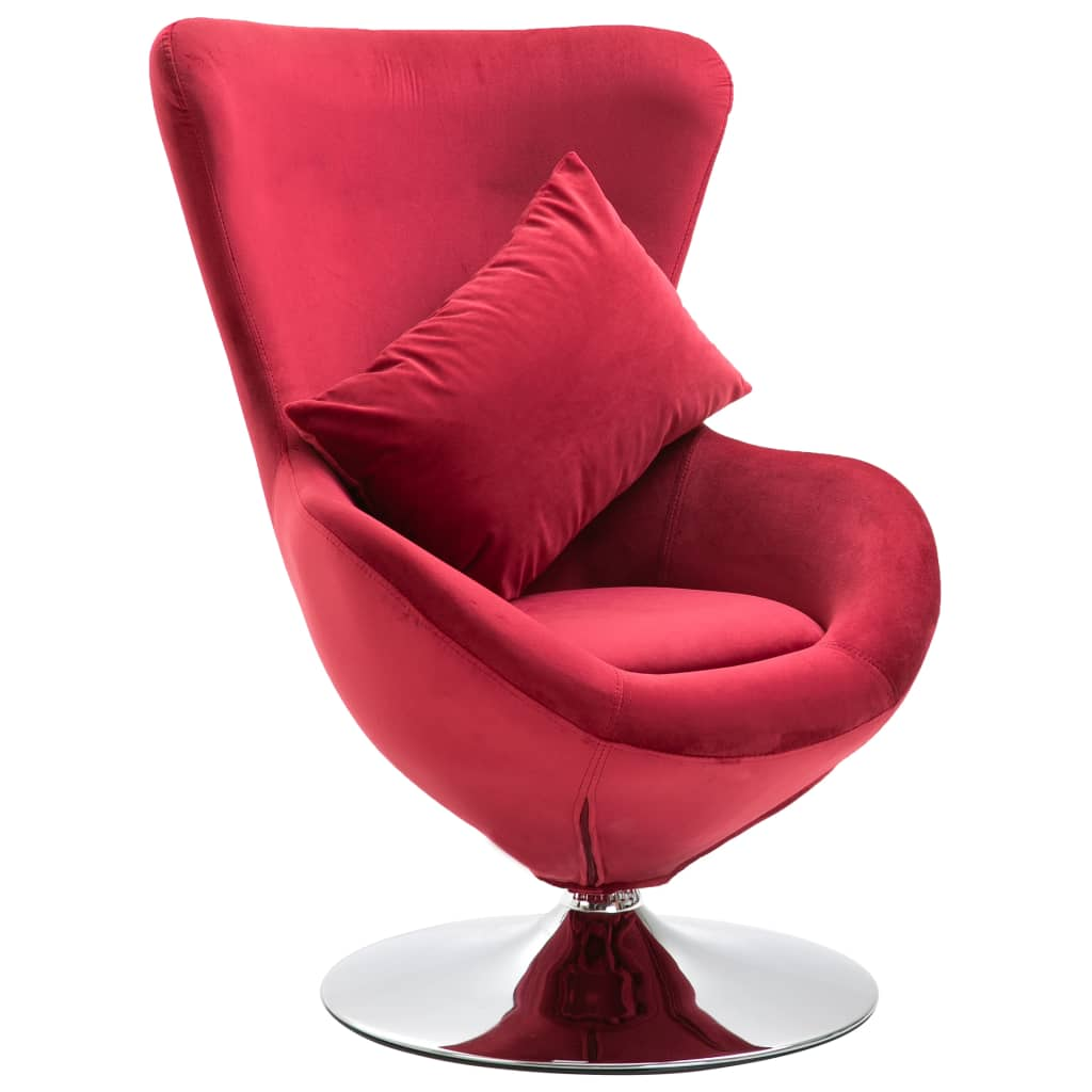Swivel Egg Chair with Cushion Red Velvet 1