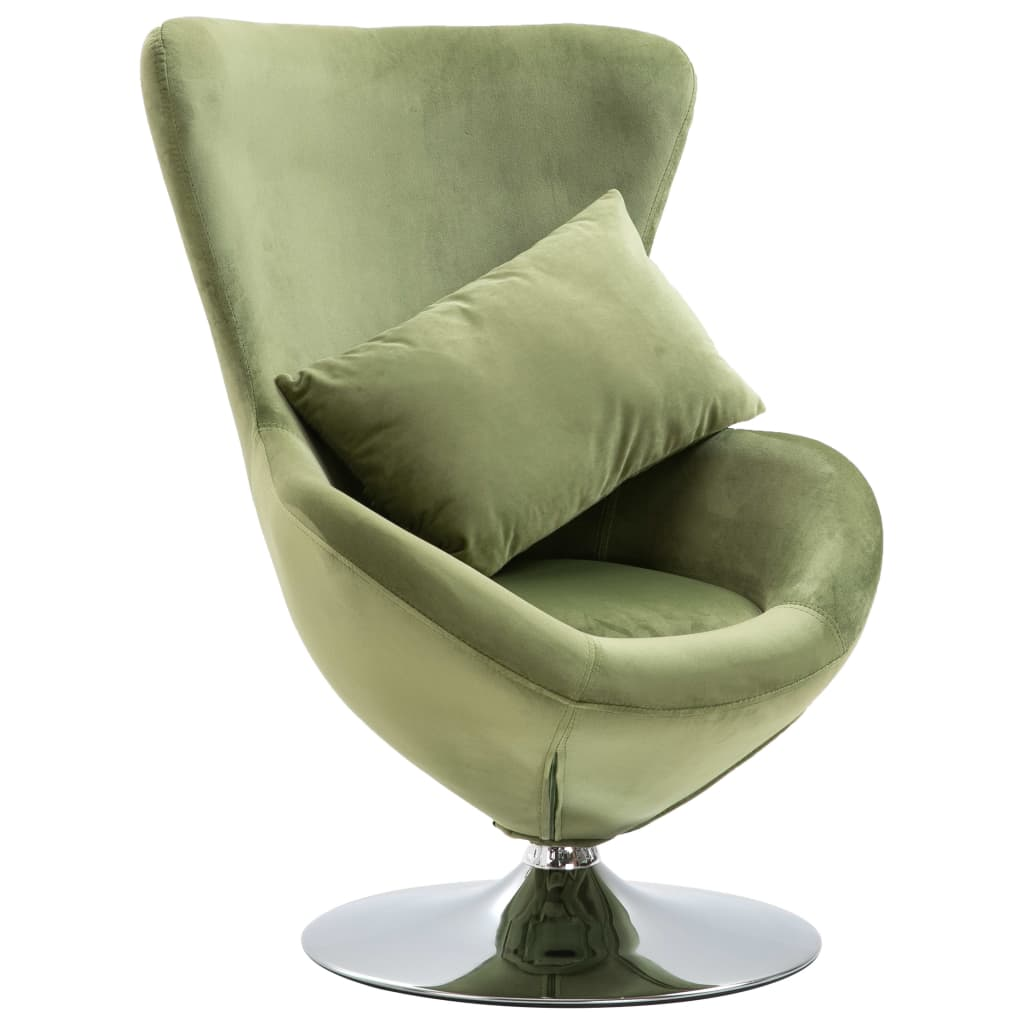 Swivel Egg Chair with Cushion Light Green Velvet 1