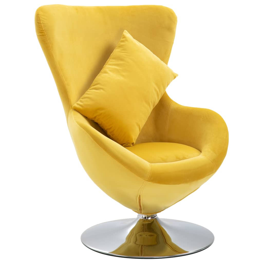 Swivel Egg Chair with Cushion Yellow Velvet 1
