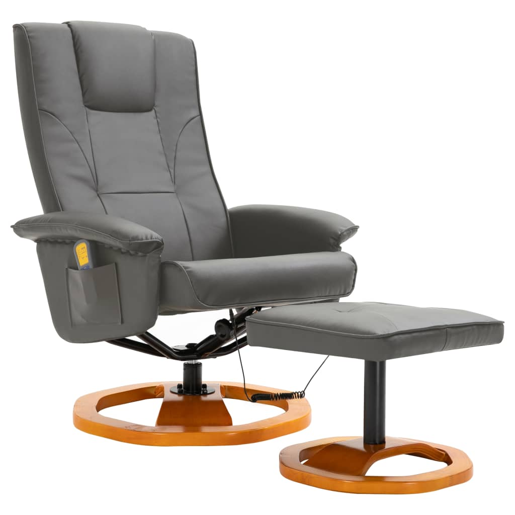 Massage Chair with Foot Stool Grey Faux Leather 2