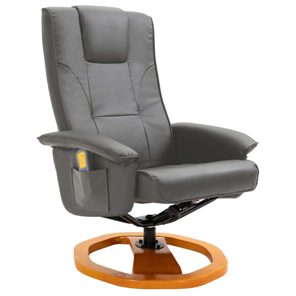 Massage Chair with Foot Stool Grey Faux Leather 3