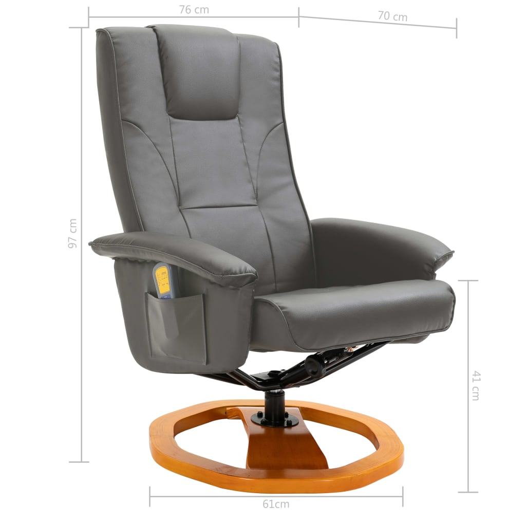 Massage Chair with Foot Stool Grey Faux Leather 11