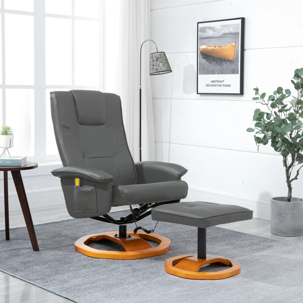 Massage Chair with Foot Stool Grey Faux Leather 1
