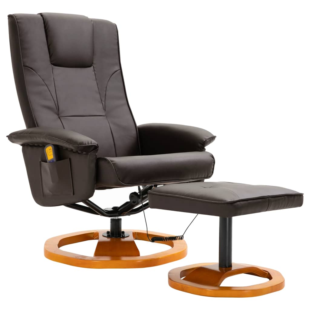 Massage Chair with Foot Stool Brown Faux Leather 2