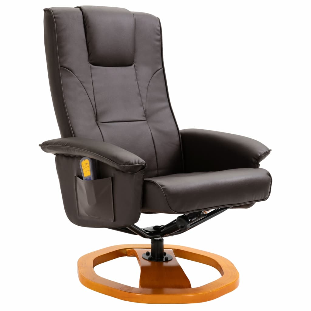 Massage Chair with Foot Stool Brown Faux Leather 3