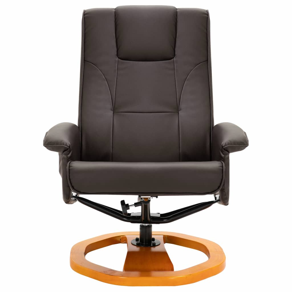 Massage Chair with Foot Stool Brown Faux Leather 4
