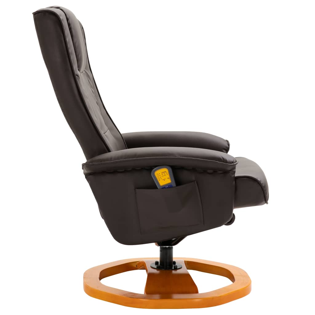 Massage Chair with Foot Stool Brown Faux Leather 5