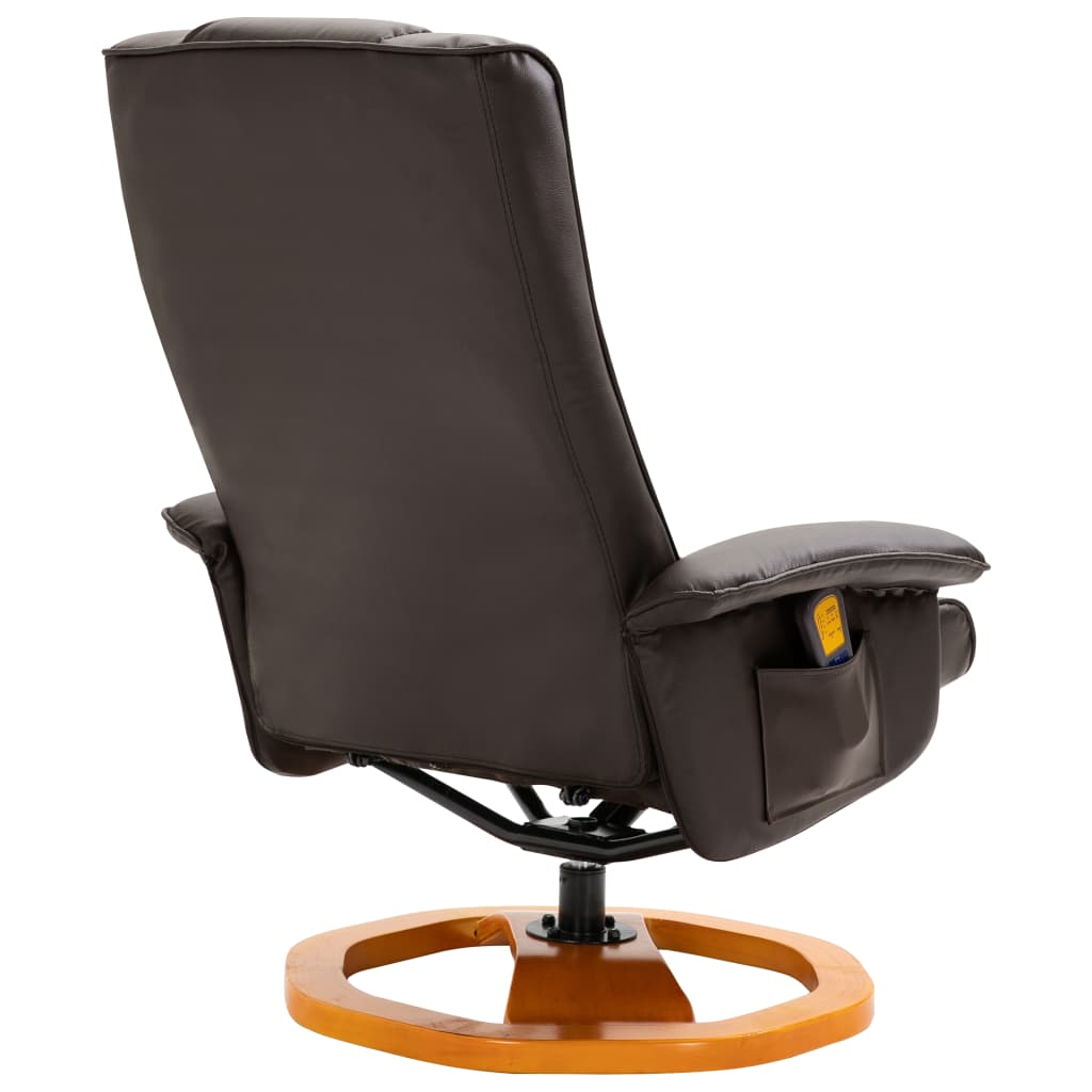 Massage Chair with Foot Stool Brown Faux Leather 6