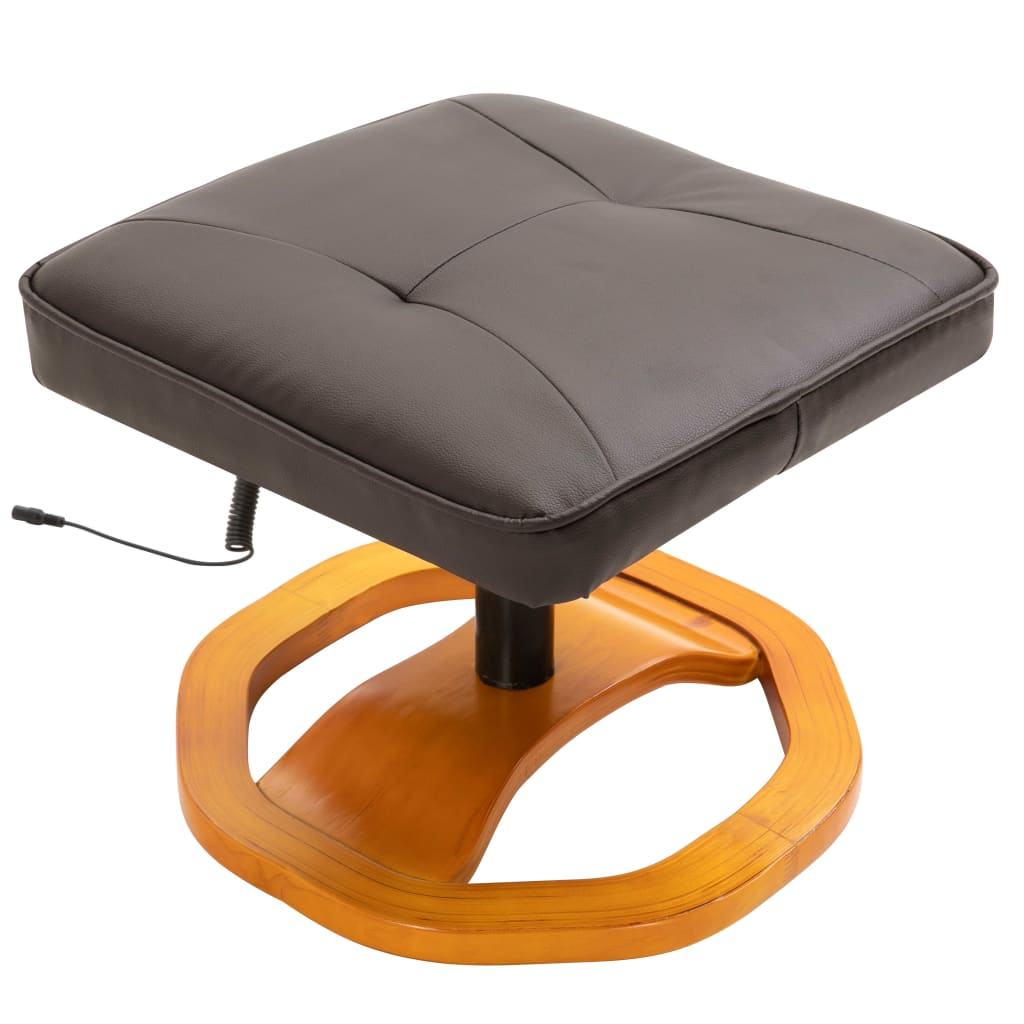 Massage Chair with Foot Stool Brown Faux Leather 7