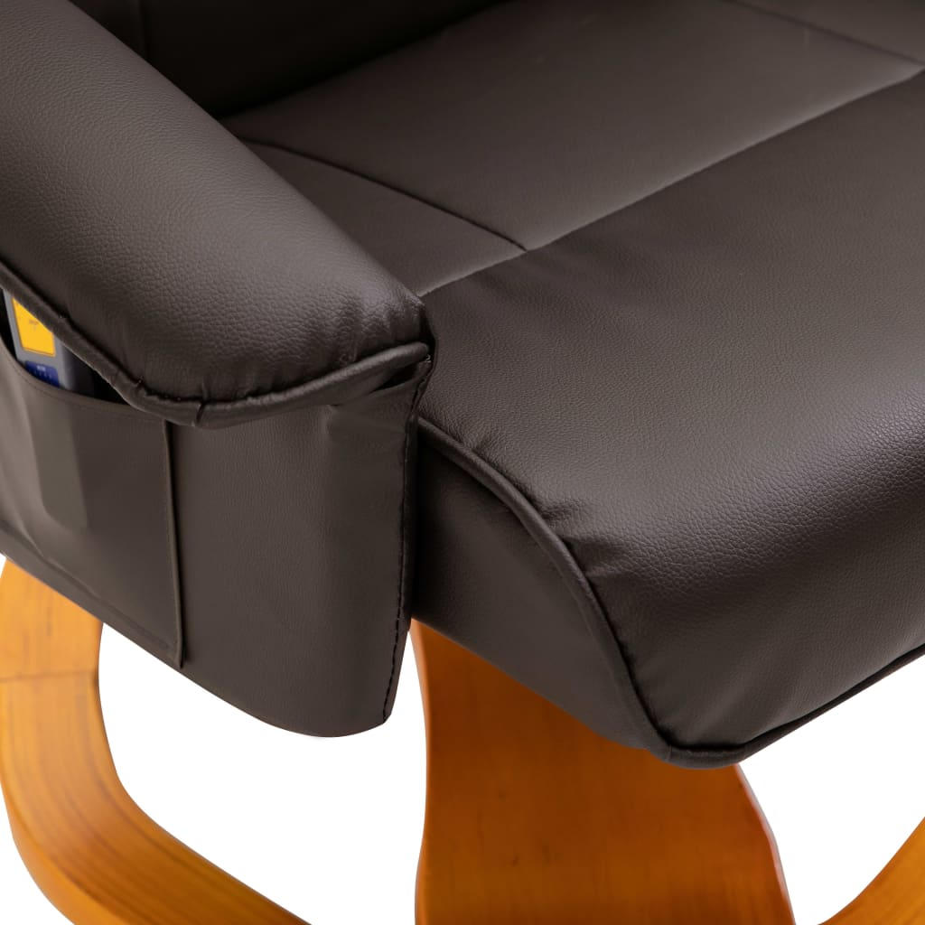 Massage Chair with Foot Stool Brown Faux Leather 8