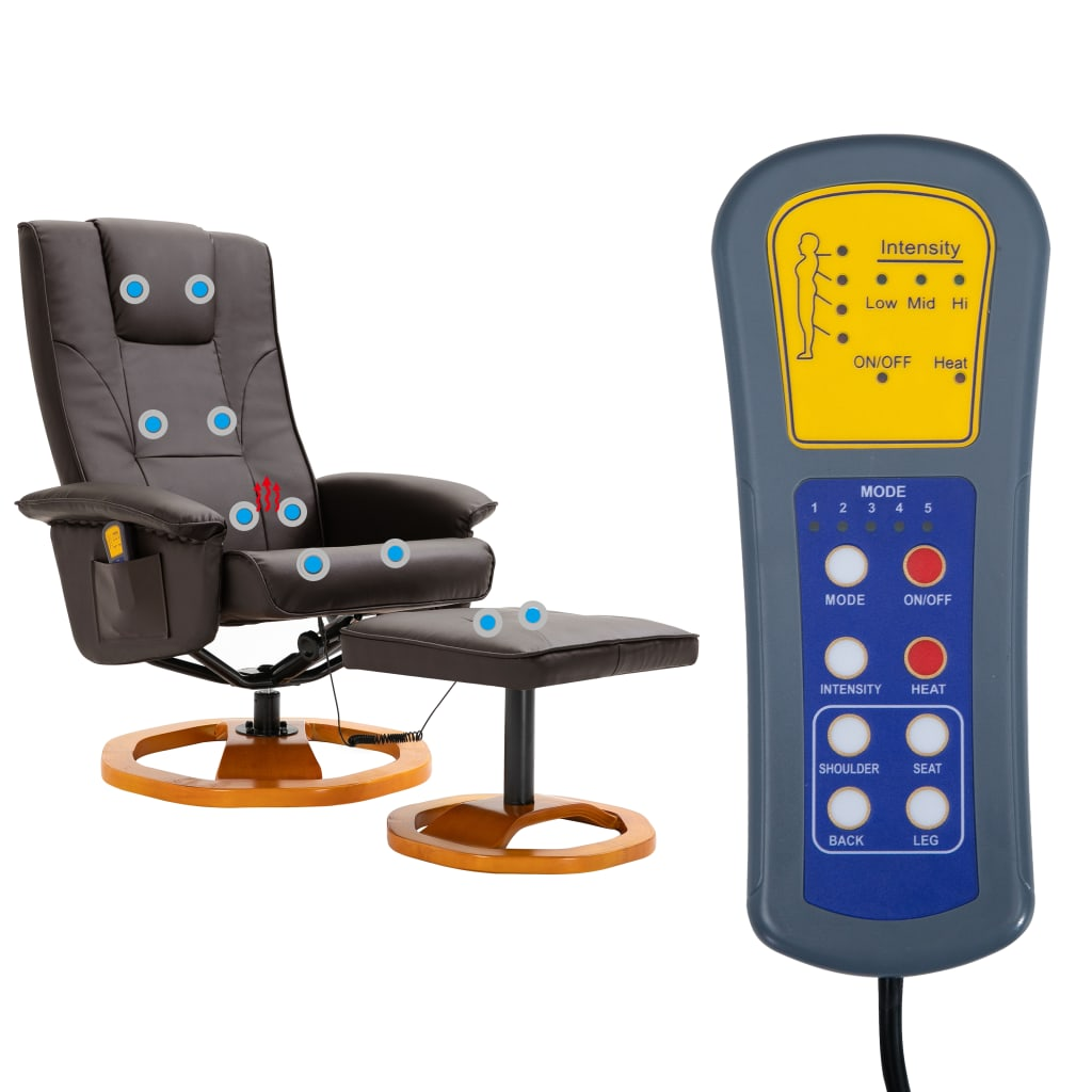 Massage Chair with Foot Stool Brown Faux Leather 9