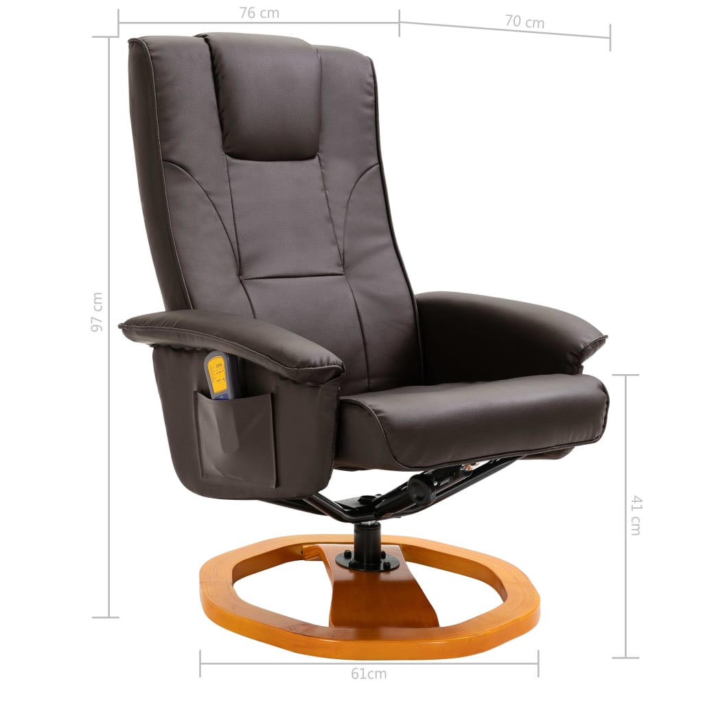 Massage Chair with Foot Stool Brown Faux Leather 11
