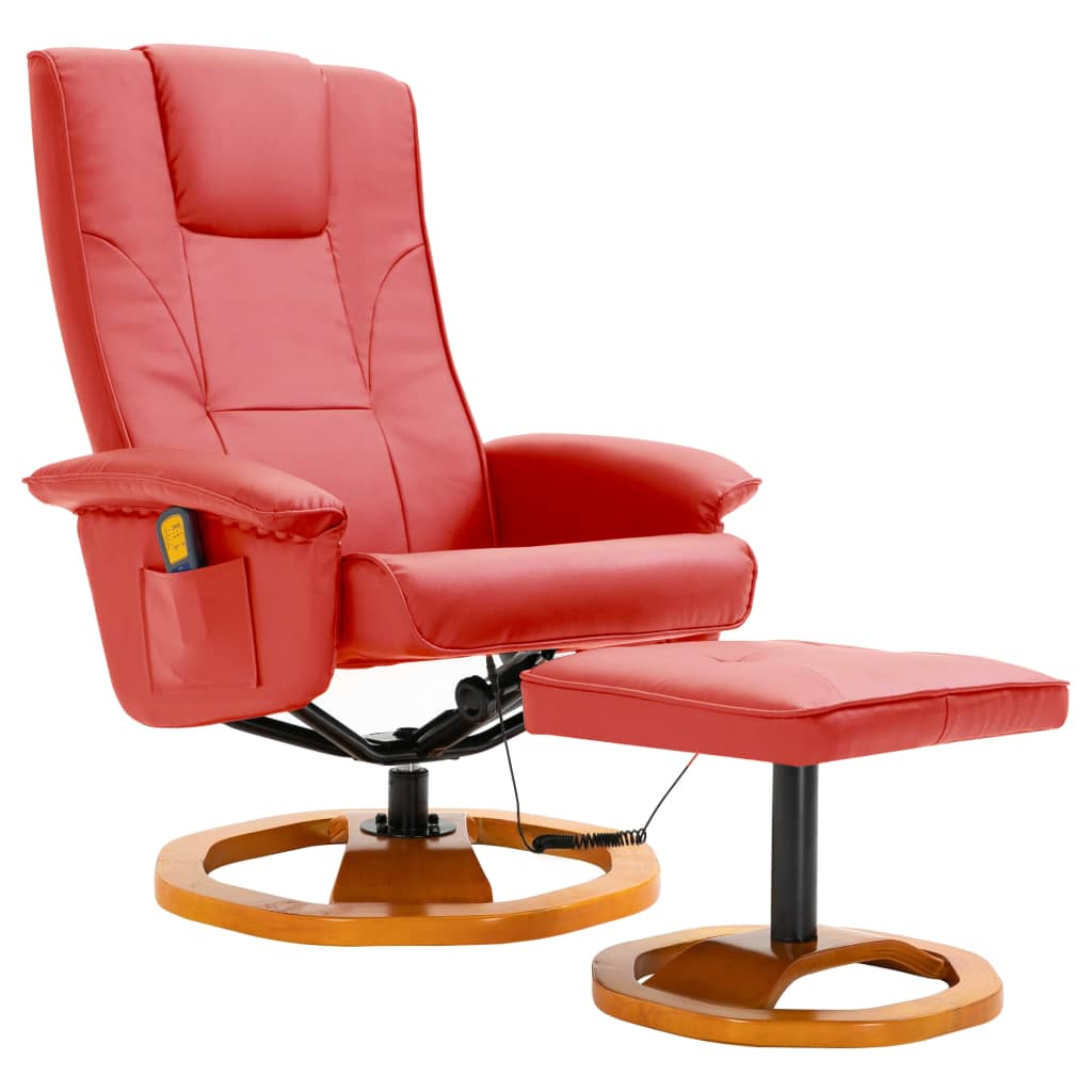 Massage Chair with Foot Stool Red Faux Leather 2