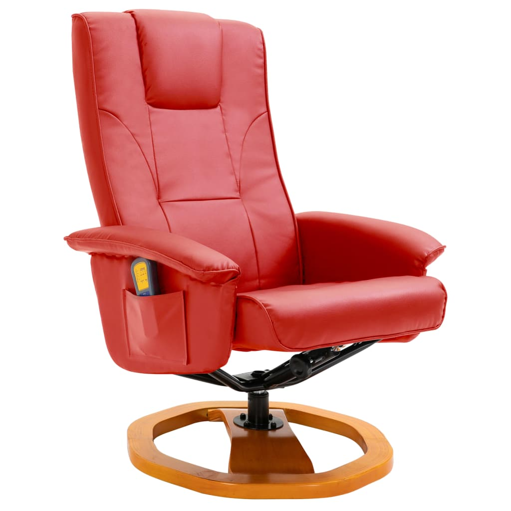 Massage Chair with Foot Stool Red Faux Leather 3