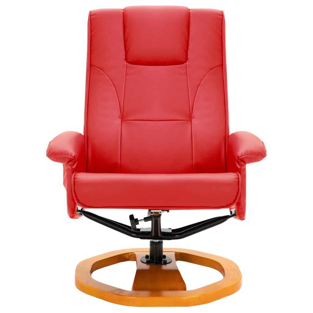Massage Chair with Foot Stool Red Faux Leather 4
