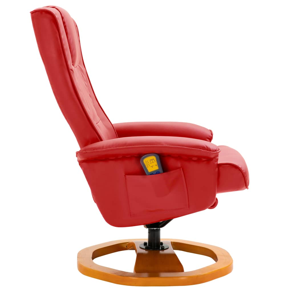 Massage Chair with Foot Stool Red Faux Leather 5