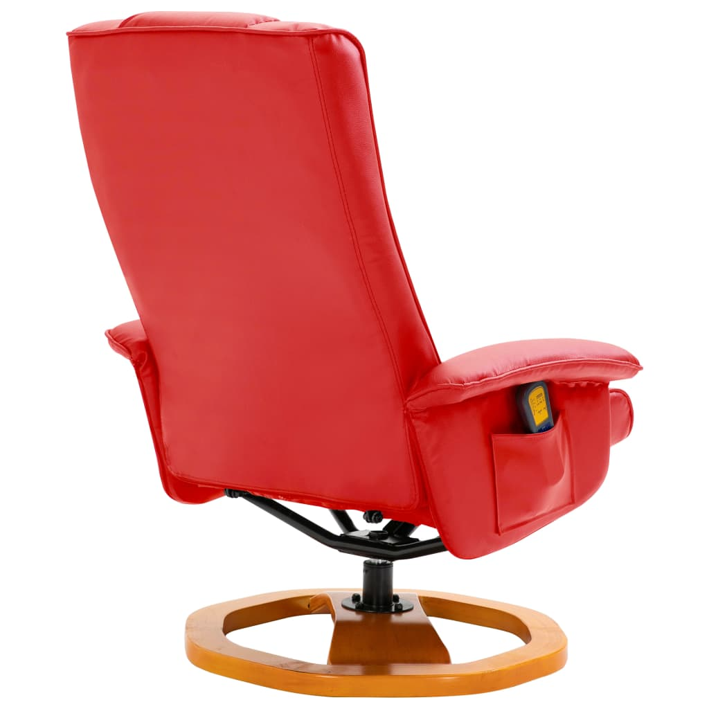 Massage Chair with Foot Stool Red Faux Leather 6