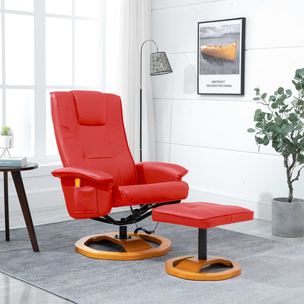Massage Chair with Foot Stool Red Faux Leather 1