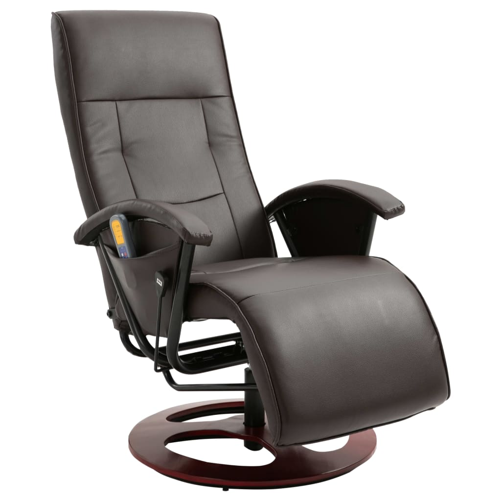Massage Chair Brown Faux Leather 2