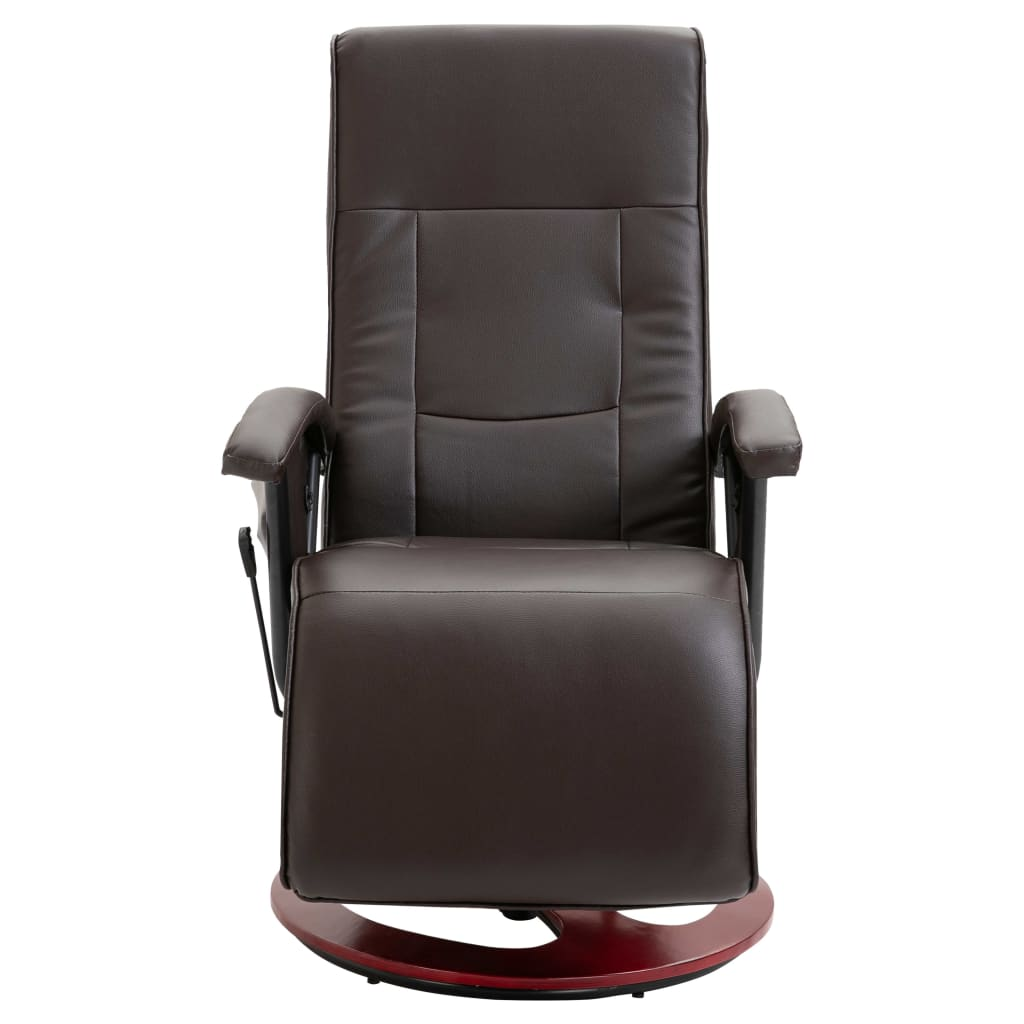 Massage Chair Brown Faux Leather 3