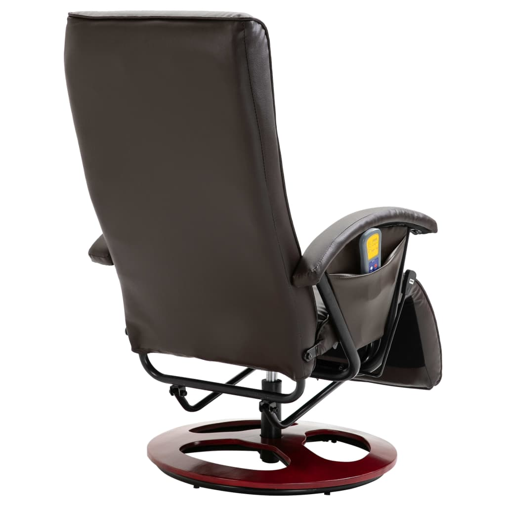 Massage Chair Brown Faux Leather 5