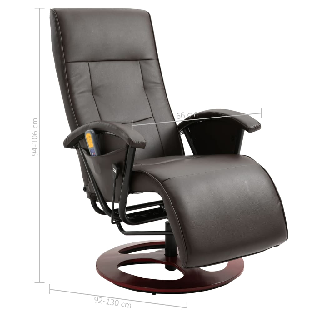 Massage Chair Brown Faux Leather 11