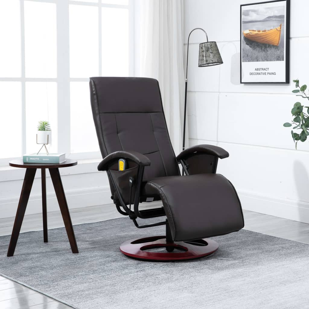 Massage Chair Brown Faux Leather 1