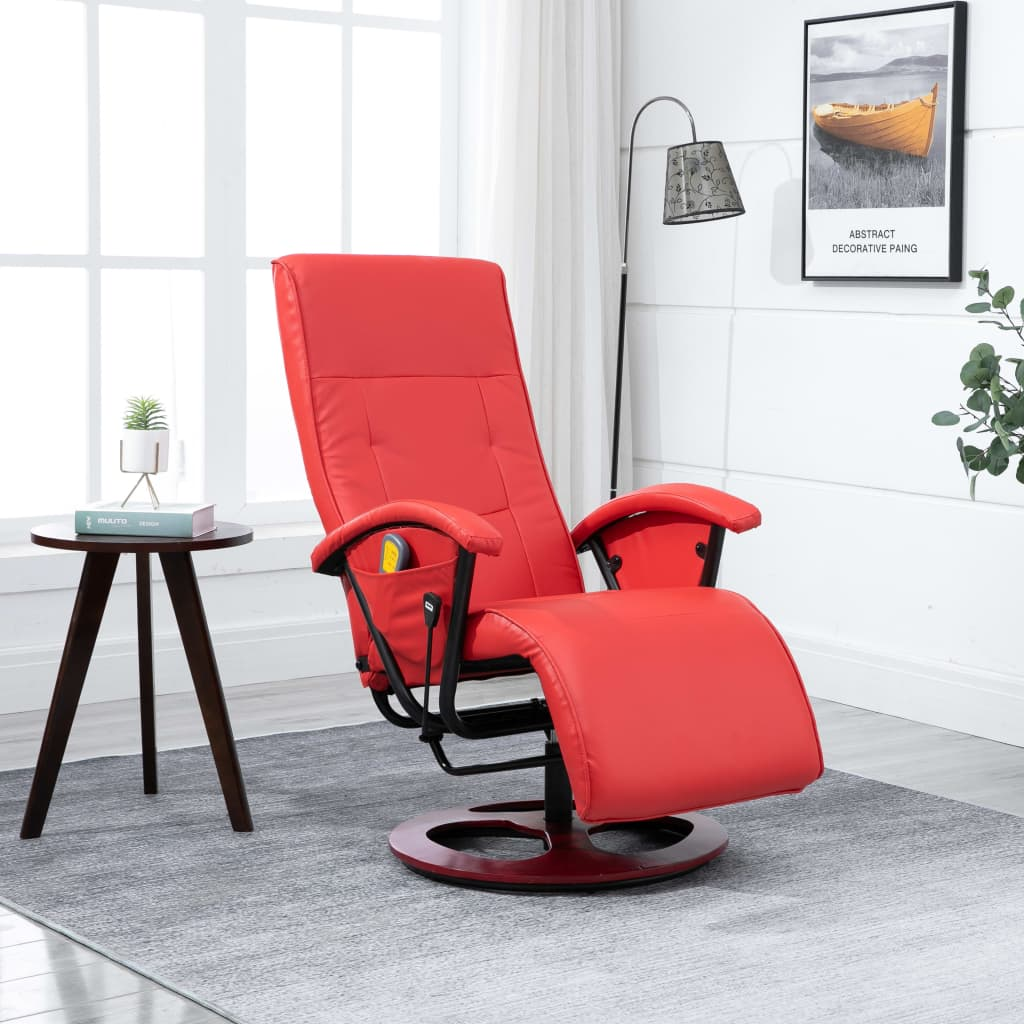 Massage Chair Red Faux Leather