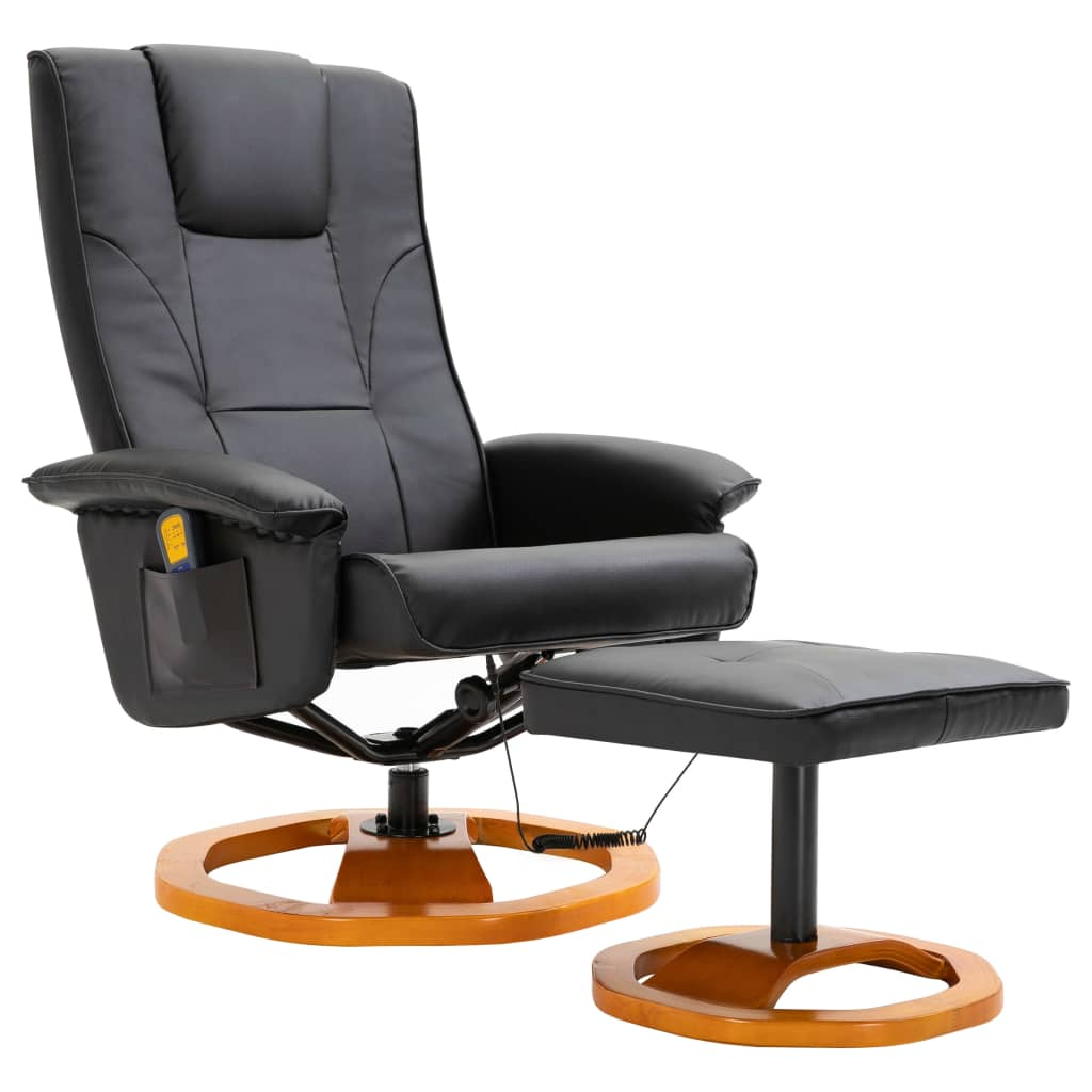 Massage Chair with Foot Stool Black Faux Leather 2