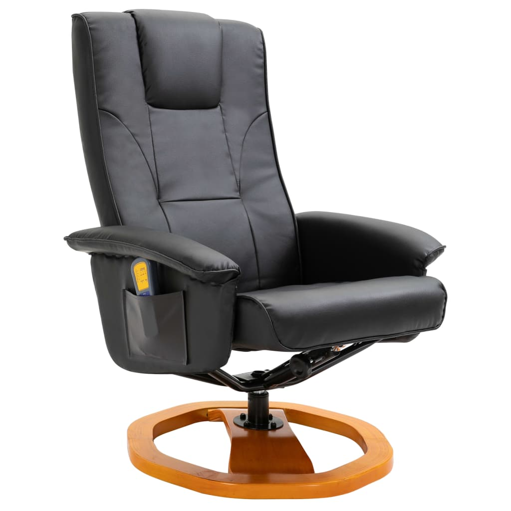 Massage Chair with Foot Stool Black Faux Leather 3