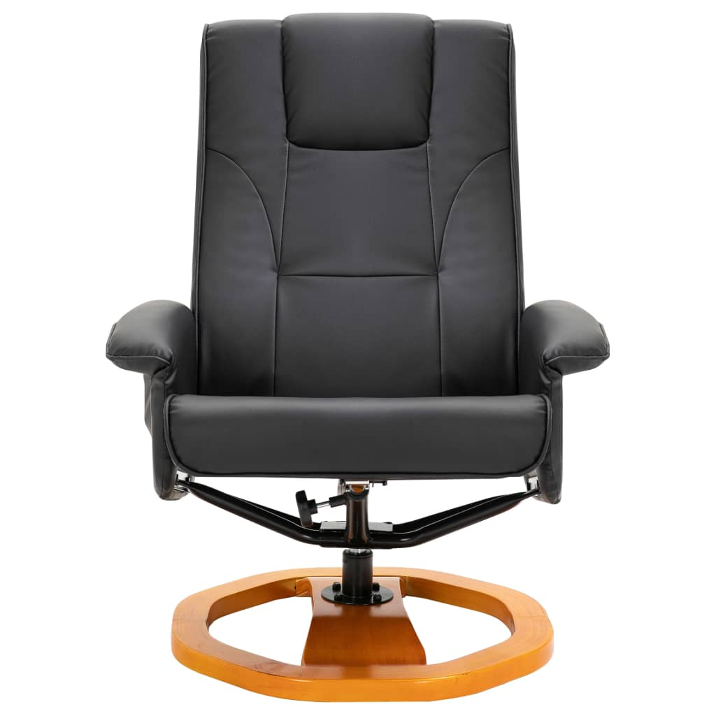 Massage Chair with Foot Stool Black Faux Leather 4