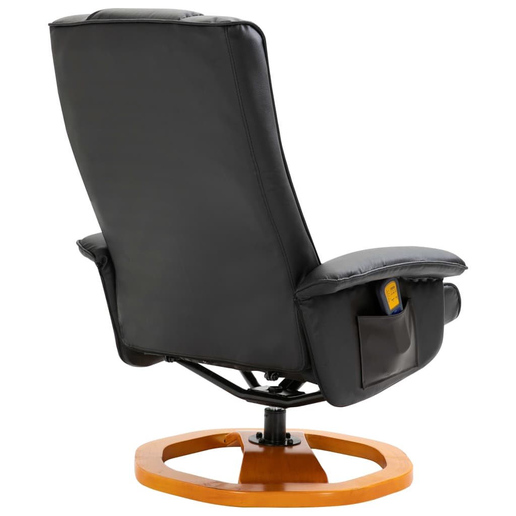 Massage Chair with Foot Stool Black Faux Leather 6