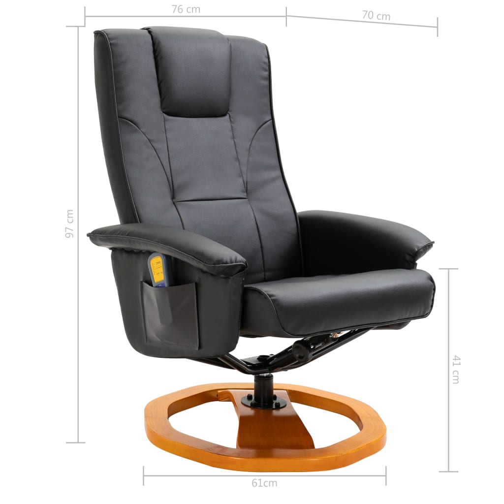 Massage Chair with Foot Stool Black Faux Leather 11
