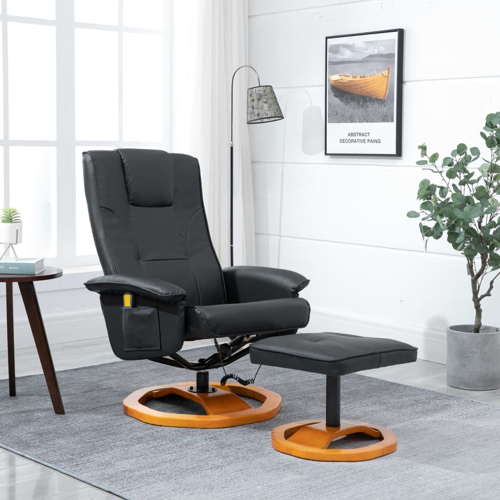 Massage Chair with Foot Stool Black Faux Leather 1
