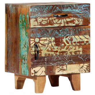 Hand Carved Bedside Cabinet 40x30x50 cm Solid Reclaimed Wood 1