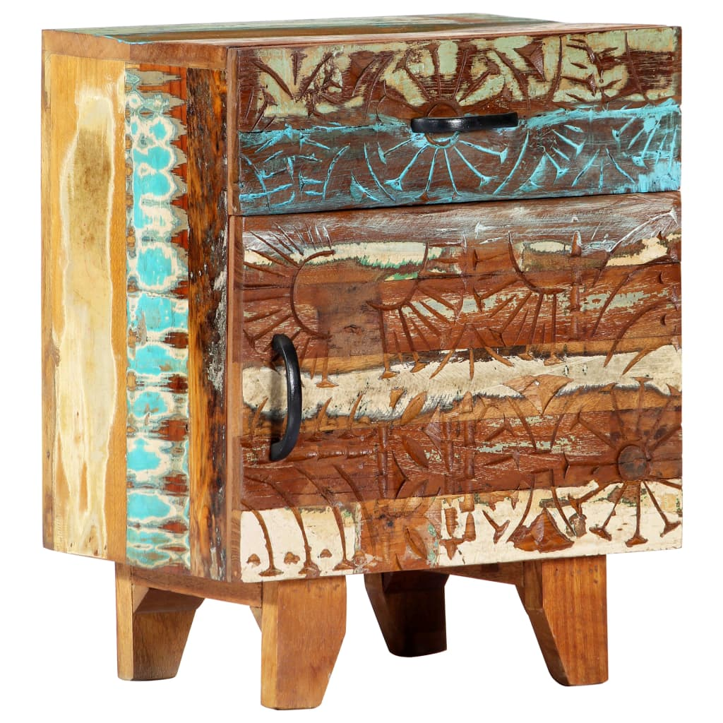 Hand Carved Bedside Cabinet 40x30x50 cm Solid Reclaimed Wood 11