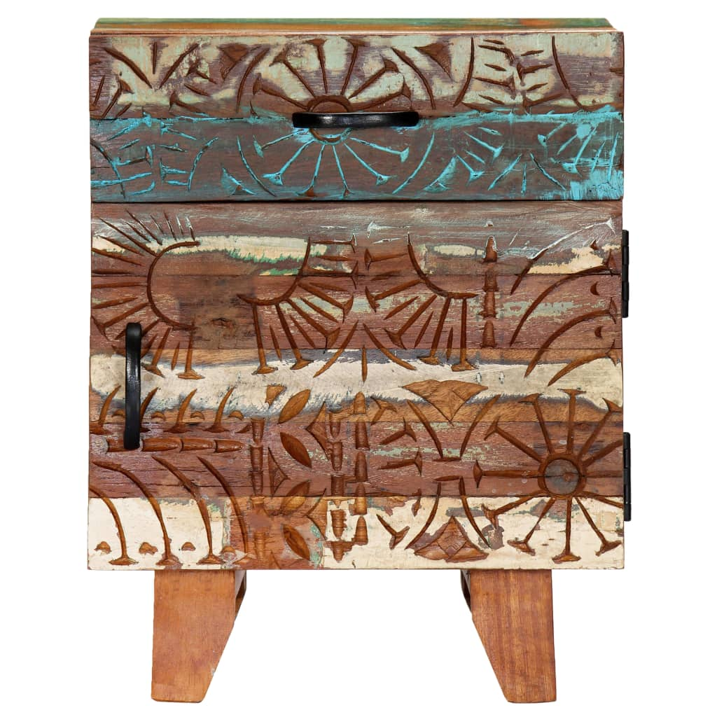 Hand Carved Bedside Cabinet 40x30x50 cm Solid Reclaimed Wood 4