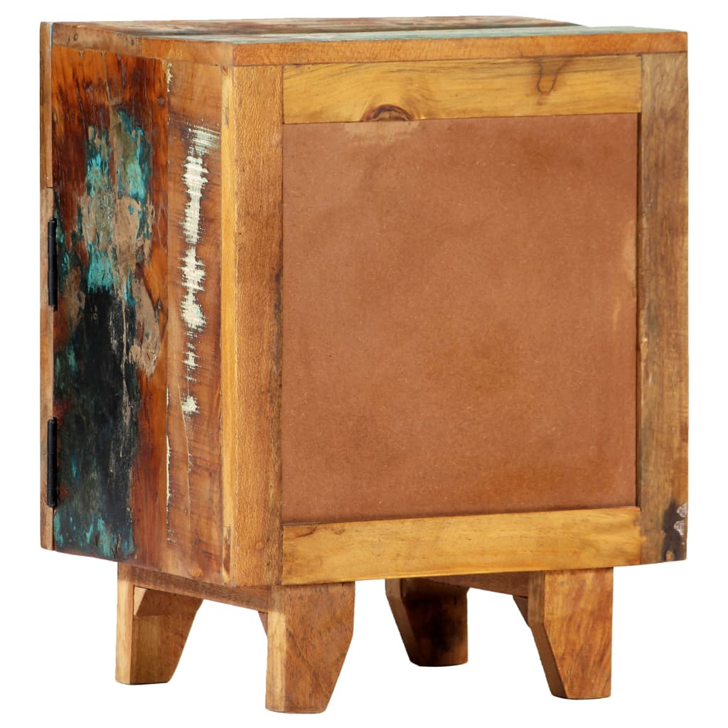 Hand Carved Bedside Cabinet 40x30x50 cm Solid Reclaimed Wood 5