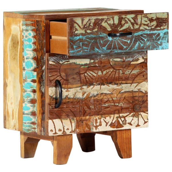 Hand Carved Bedside Cabinet 40x30x50 cm Solid Reclaimed Wood 6