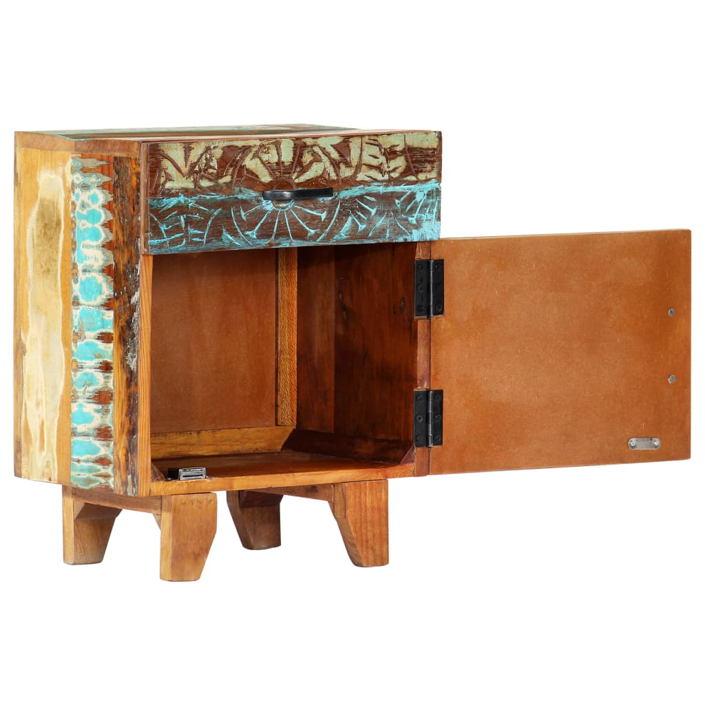 Hand Carved Bedside Cabinet 40x30x50 cm Solid Reclaimed Wood 7