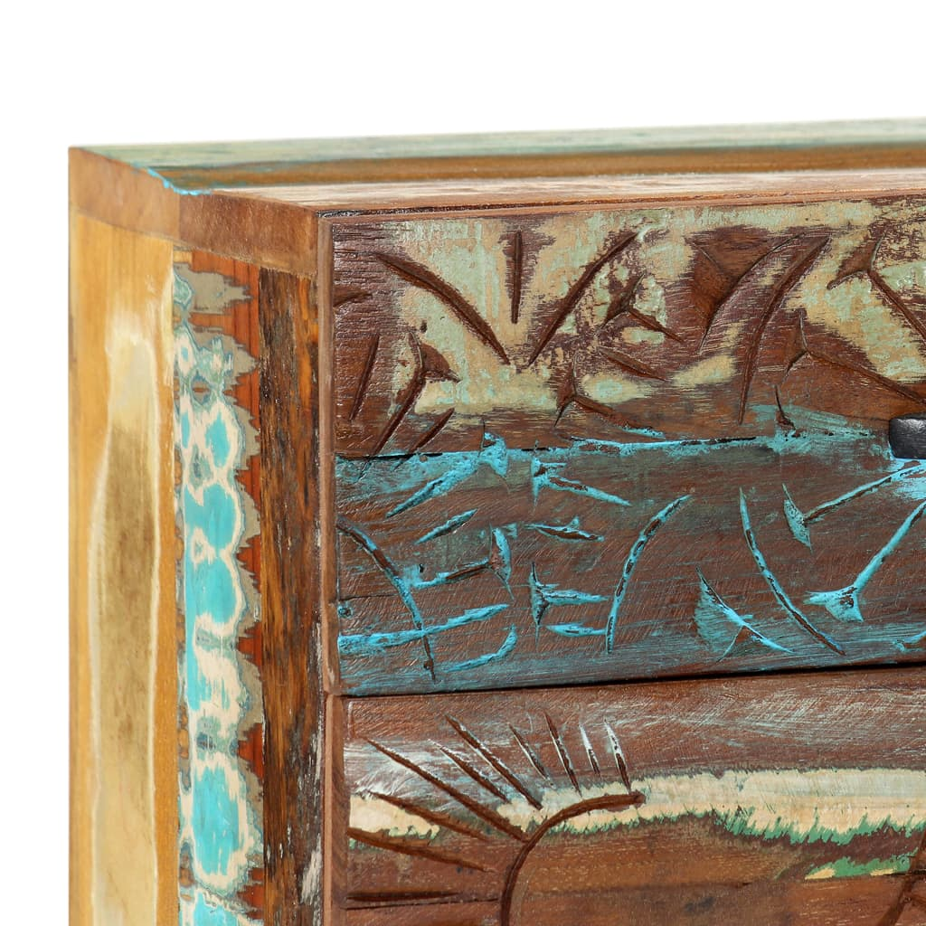 Hand Carved Bedside Cabinet 40x30x50 cm Solid Reclaimed Wood 9
