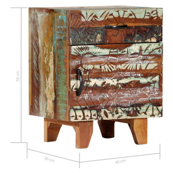 Hand Carved Bedside Cabinet 40x30x50 cm Solid Reclaimed Wood 10