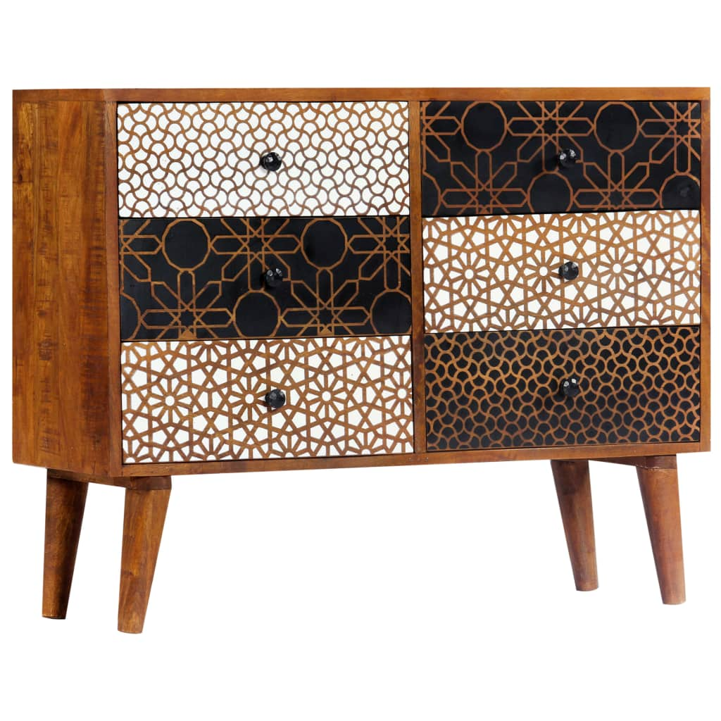 Sideboard with Printed Pattern 90x30x70 cm Solid Mango Wood 11