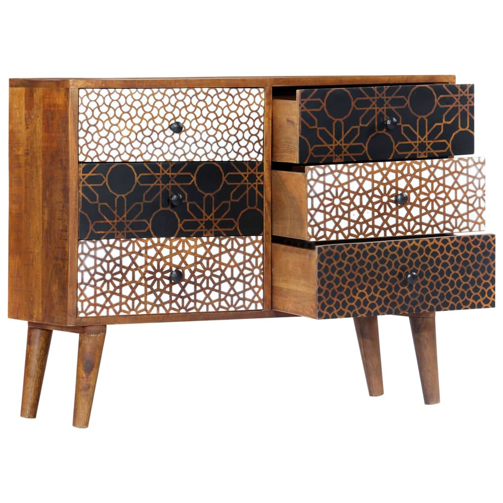 Sideboard with Printed Pattern 90x30x70 cm Solid Mango Wood 3