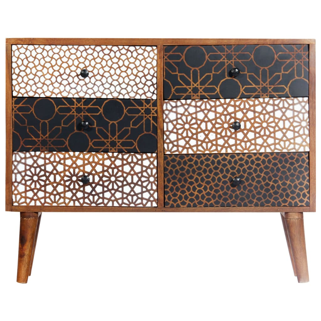 Sideboard with Printed Pattern 90x30x70 cm Solid Mango Wood 5