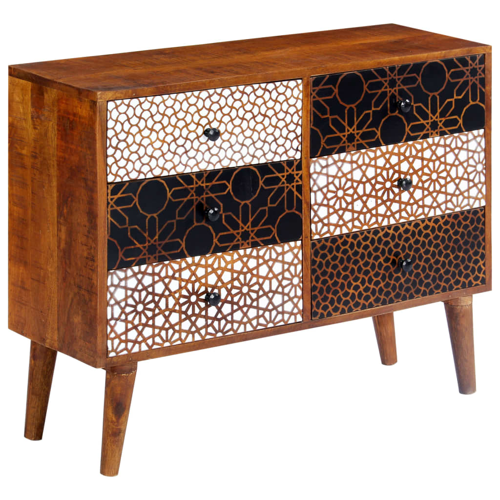 Sideboard with Printed Pattern 90x30x70 cm Solid Mango Wood 6